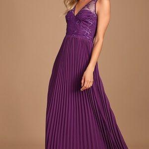 Lulus Petals and Pleats Purple Lace Maxi Dress